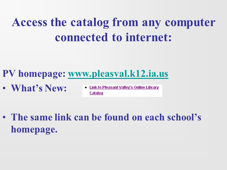 Click on the school name for the online library catalog.