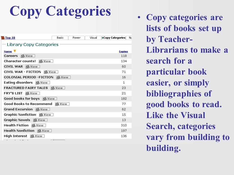 Copy Categories Copy categories are lists of books set up by Teacher- Librarians to make a search for a particular book easier, or simply bibliographi