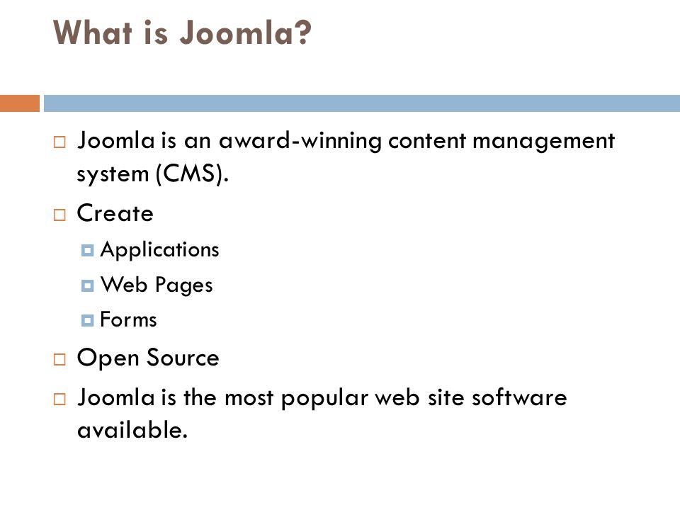 What is Joomla. Joomla is an award-winning content management system (CMS).