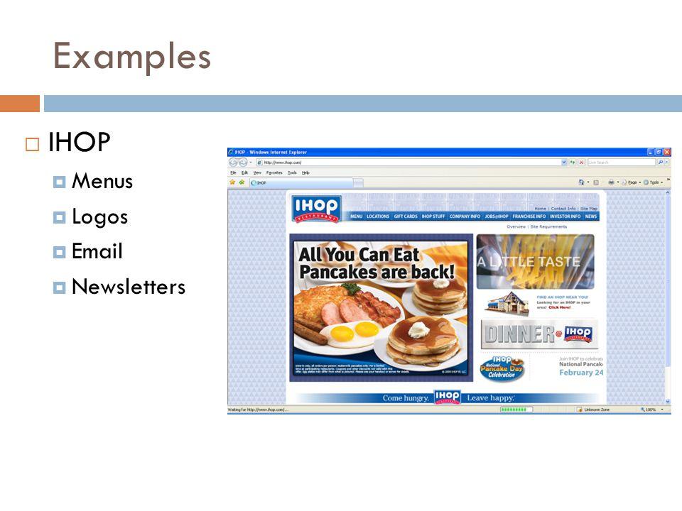 Examples  IHOP  Menus  Logos  Email  Newsletters