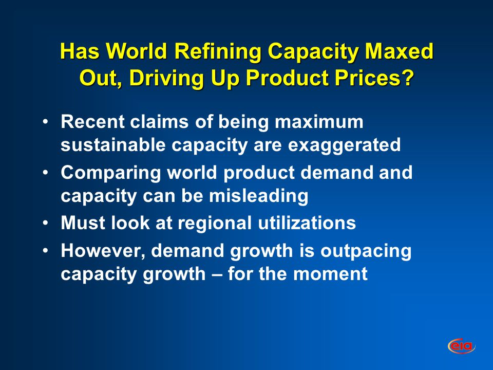 Has World Refining Capacity Maxed Out, Driving Up Product Prices.