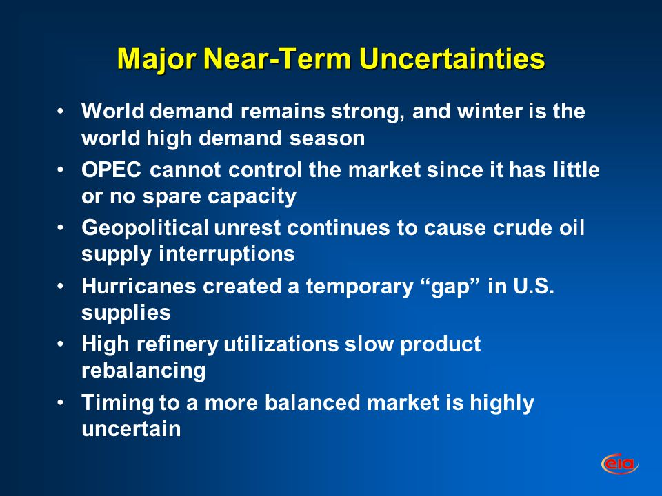 Major Near-Term Uncertainties World demand remains strong, and winter is the world high demand season OPEC cannot control the market since it has little or no spare capacity Geopolitical unrest continues to cause crude oil supply interruptions Hurricanes created a temporary gap in U.S.