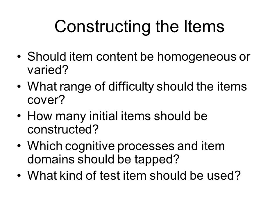 Testing the Items In conducting a thorough item analysis, the test developer might make use of item- difficulty index, item-reliability index, item- validity index, item-characteristic curve, and an index of item discrimination.
