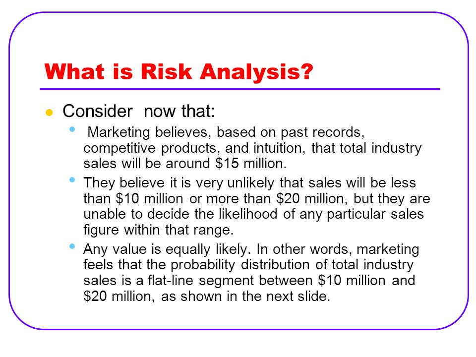 What is Risk Analysis? Consider now that: Marketing believes, based on past records, competitive products, and intuition, that total industry sales wi