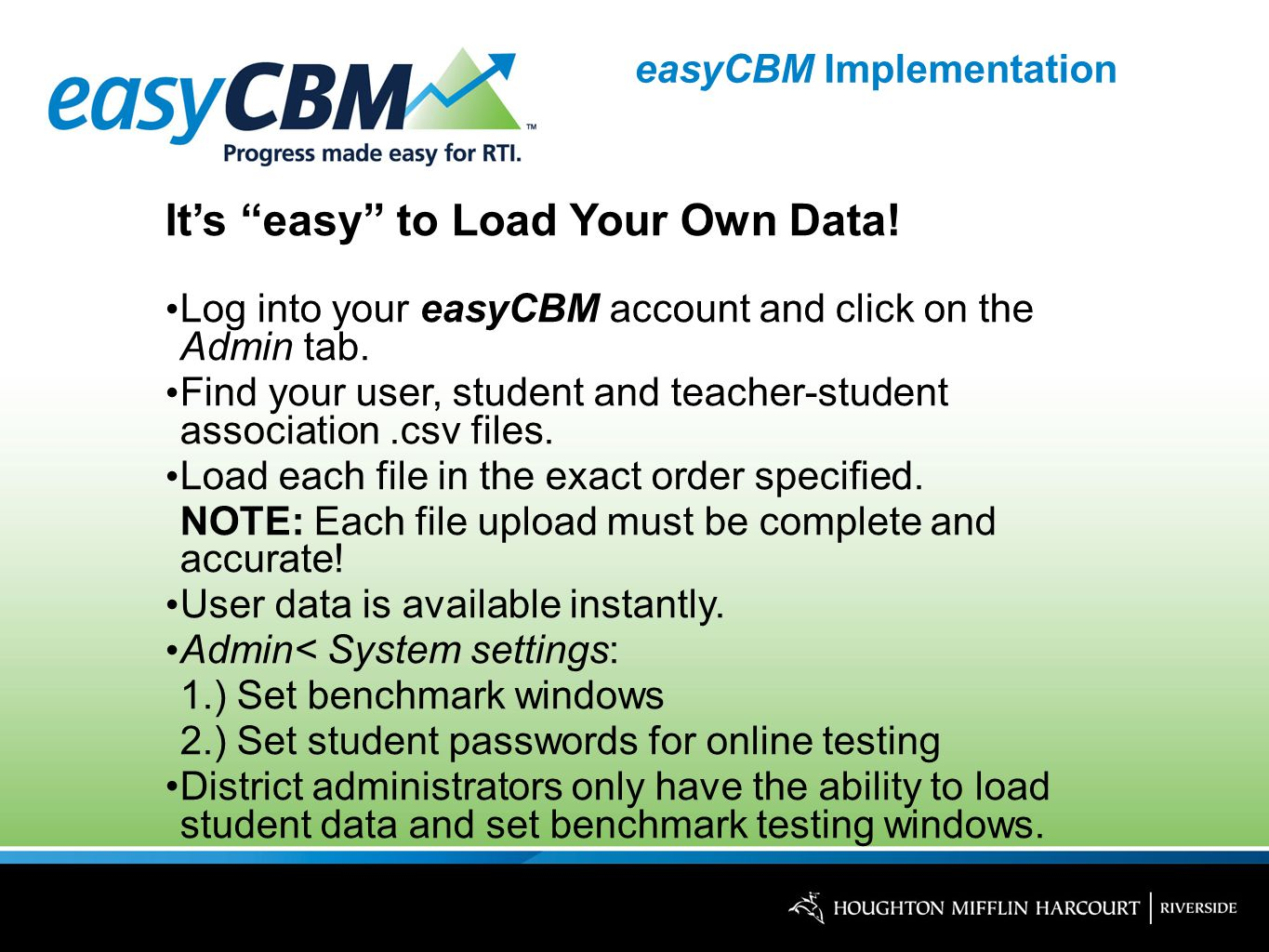 easyCBM Implementation It's easy to Load Your Own Data.