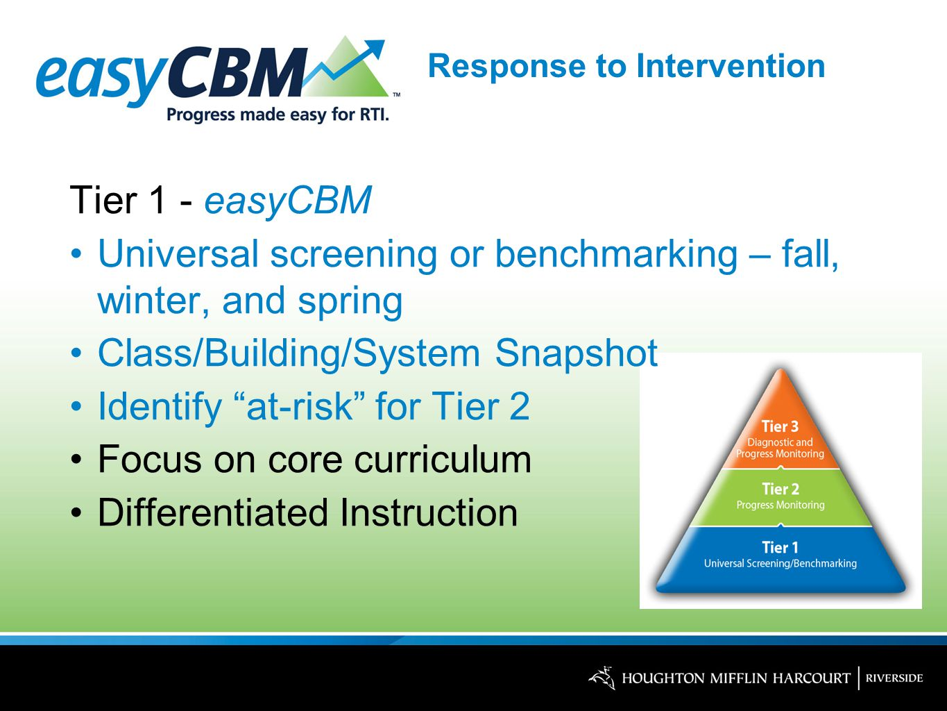 Response to Intervention Tier 1 - easyCBM Universal screening or benchmarking – fall, winter, and spring Class/Building/System Snapshot Identify at-risk for Tier 2 Focus on core curriculum Differentiated Instruction