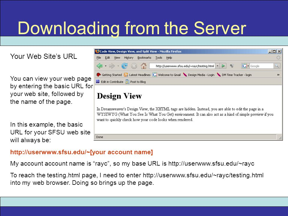 Downloading from the Server Your Web Site's URL You can view your web page by entering the basic URL for your web site, followed by the name of the page.