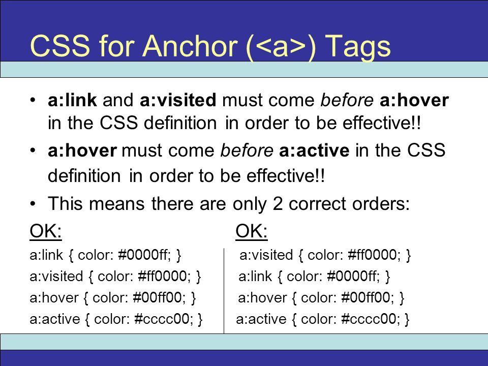 a:link and a:visited must come before a:hover in the CSS definition in order to be effective!.