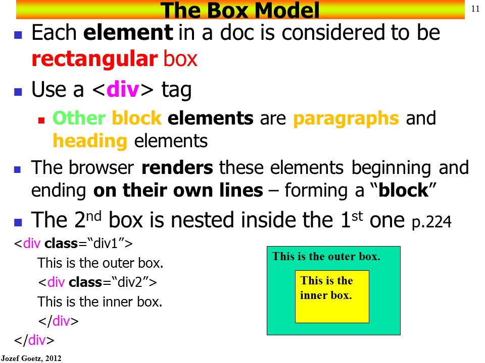 Jozef Goetz, 2012 10 Block-level HTML/XHTML elements (e.g. h1 to h6, div, p) have a virtual box drawn around them based on the box model When the brow