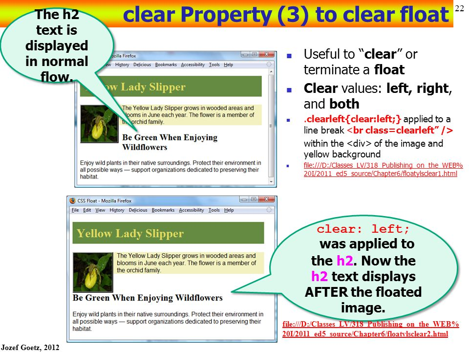 """Jozef Goetz, 2012 21 Float the image: HOP 6.3 start: starter3.html, yls.jpg floatyls.html configure a CSS style for a class=""""float"""""""