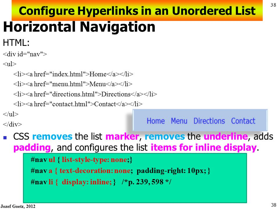 Jozef Goetz, 2012 37 Configure Hyperlinks in an Unordered List 37 Vertical Navigation Home Menu Directions Contact CSS removes the list marker and und