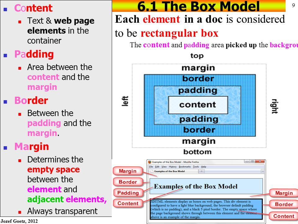 Jozef Goetz, 2012 19 CSS Float Properties (2) h1 { background-color:#cccccc; padding:5px; color: #000000; } p { font-family:Arial,sans-serif; } #yls {float:right; margin: 5px; border: solid; }