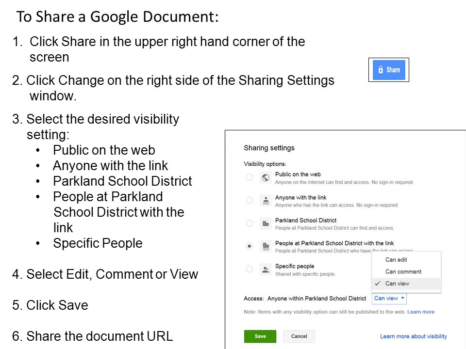 To Share a Google Document: 1.Click Share in the upper right hand corner of the screen 2.