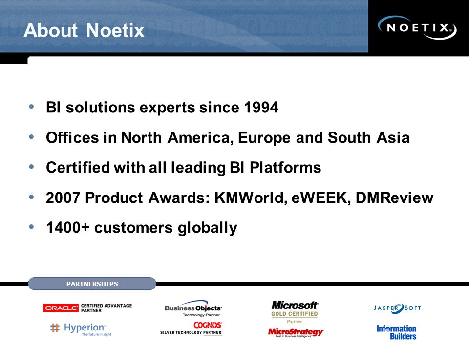 Noetix Excel Integration Author in Noetix WebQuery Pre-defined Spreadsheets User-defined Spreadsheets Refreshable Multiple Queries in a Workbook Log into the Noetix report server with PeopleSoft credentials Execute reports all from within Excel