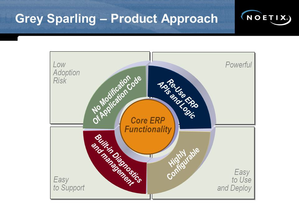Easy to Use and Deploy Easy to Use and Deploy Grey Sparling – Product Approach Powerful Low Adoption Risk Low Adoption Risk Easy to Support Easy to Support No Modification Of Application Code Re-Use ERP APIs and Logic Built-in Diagnostics and management Highly Configurable Core ERP Functionality Core ERP Functionality