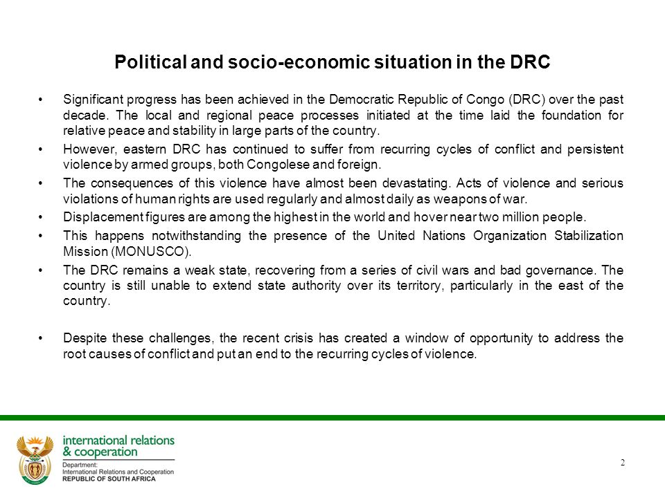 Political and economic situation continued 3 DRC is endowed with mineral and natural resources.
