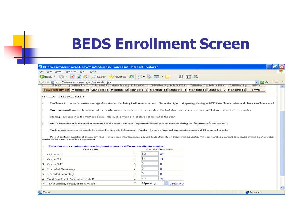 BEDS Enrollment Screen