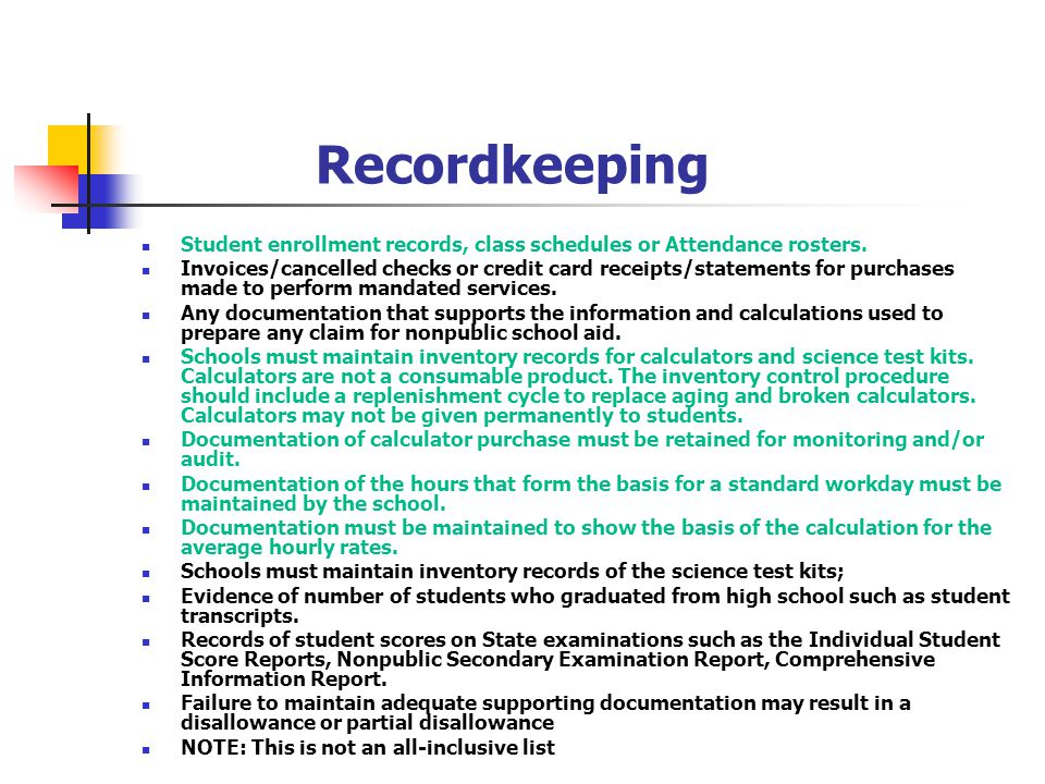 Recordkeeping Student enrollment records, class schedules or Attendance rosters.