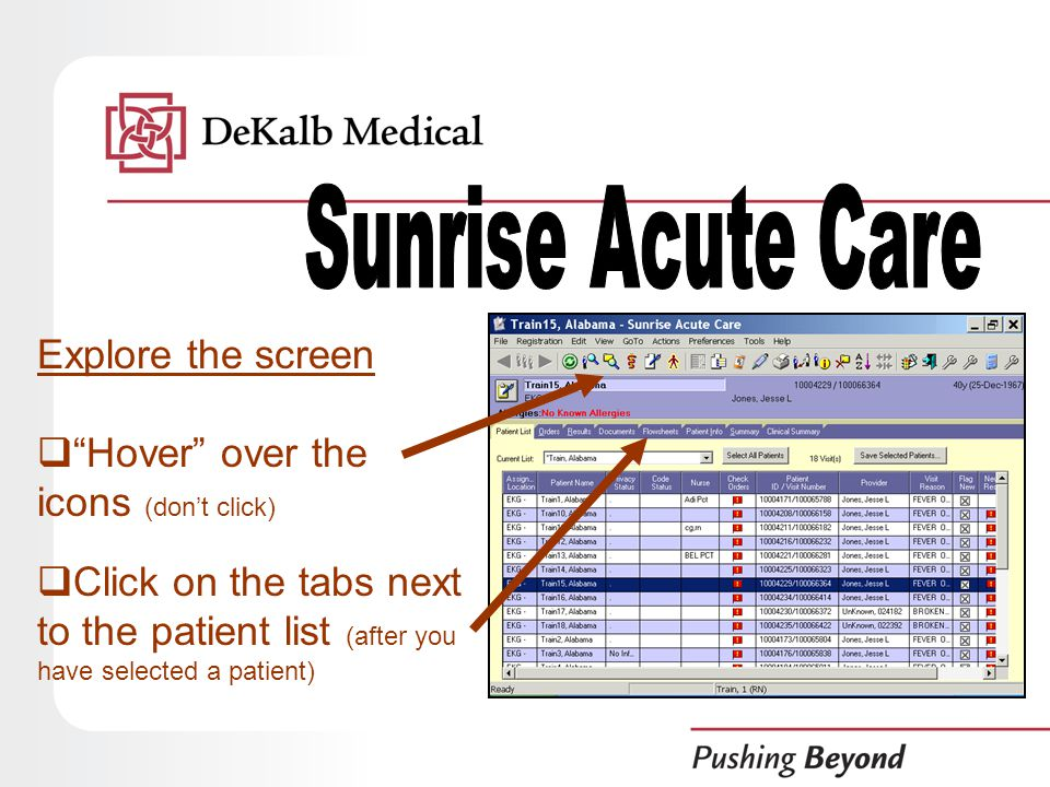 Explore the screen  Hover over the icons (don't click)  Click on the tabs next to the patient list (after you have selected a patient)