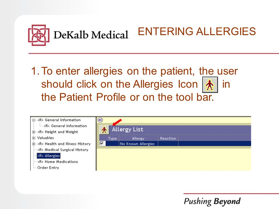 ENTERING ALLERGIES 1.To enter allergies on the patient, the user should click on the Allergies Icon in the Patient Profile or on the tool bar.