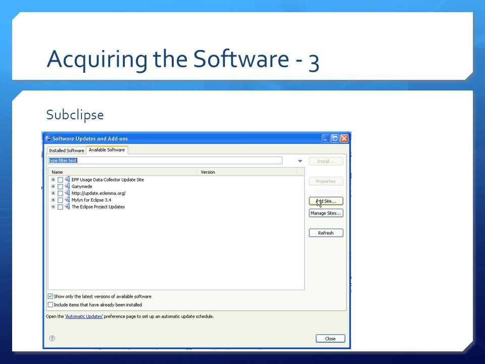 Acquiring the Software - 4 Subclipse