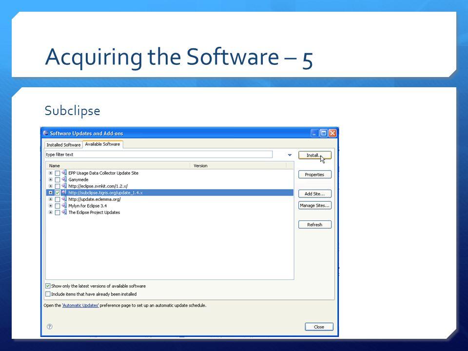 Acquiring the Software – 5 EclEmma