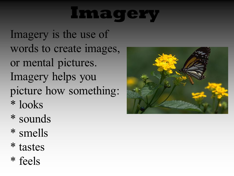 Imagery Imagery is the use of words to create images, or mental pictures.