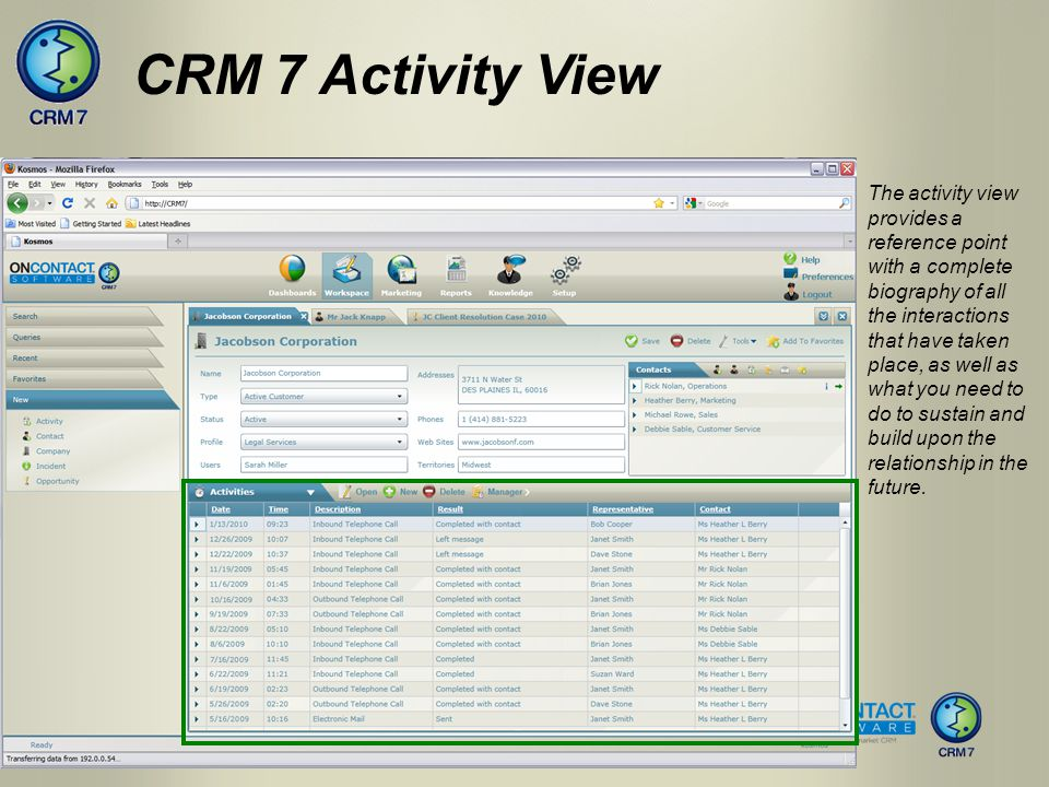 The activity view provides a reference point with a complete biography of all the interactions that have taken place, as well as what you need to do t
