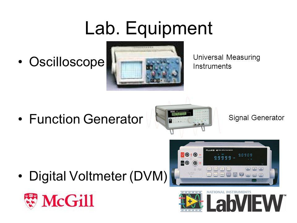 Lab. Equipment Oscilloscope Function Generator Digital Voltmeter (DVM) Universal Measuring Instruments Signal Generator