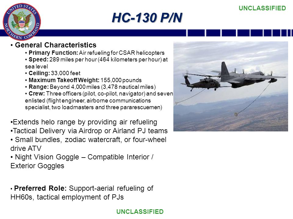 UNCLASSIFIED HC-130 P/N General Characteristics Primary Function: Air refueling for CSAR helicopters Speed: 289 miles per hour (464 kilometers per hour) at sea level Ceiling: 33,000 feet Maximum Takeoff Weight: 155,000 pounds Range: Beyond 4,000 miles (3,478 nautical miles) Crew: Three officers (pilot, co-pilot, navigator) and seven enlisted (flight engineer, airborne communications specialist, two loadmasters and three pararescuemen) Extends helo range by providing air refueling Tactical Delivery via Airdrop or Airland PJ teams Small bundles, zodiac watercraft, or four-wheel drive ATV Night Vision Goggle – Compatible Interior / Exterior Goggles Preferred Role: Support-aerial refueling of HH60s, tactical employment of PJs