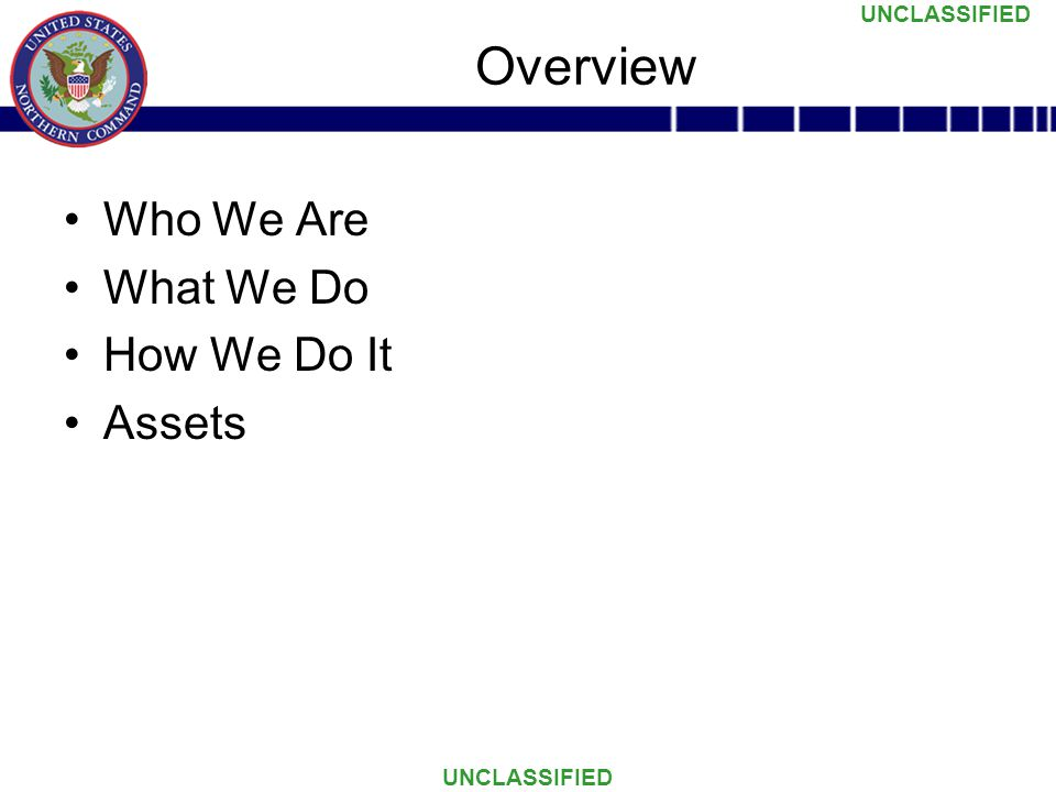 UNCLASSIFIED Who We Are What We Do How We Do It Assets Overview