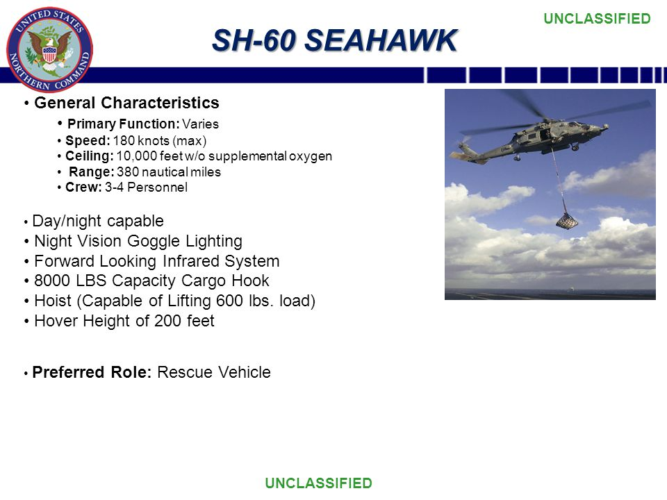 UNCLASSIFIED SH-60 SEAHAWK General Characteristics Primary Function: Varies Speed: 180 knots (max) Ceiling: 10,000 feet w/o supplemental oxygen Range: 380 nautical miles Crew: 3-4 Personnel Day/night capable Night Vision Goggle Lighting Forward Looking Infrared System 8000 LBS Capacity Cargo Hook Hoist (Capable of Lifting 600 lbs.