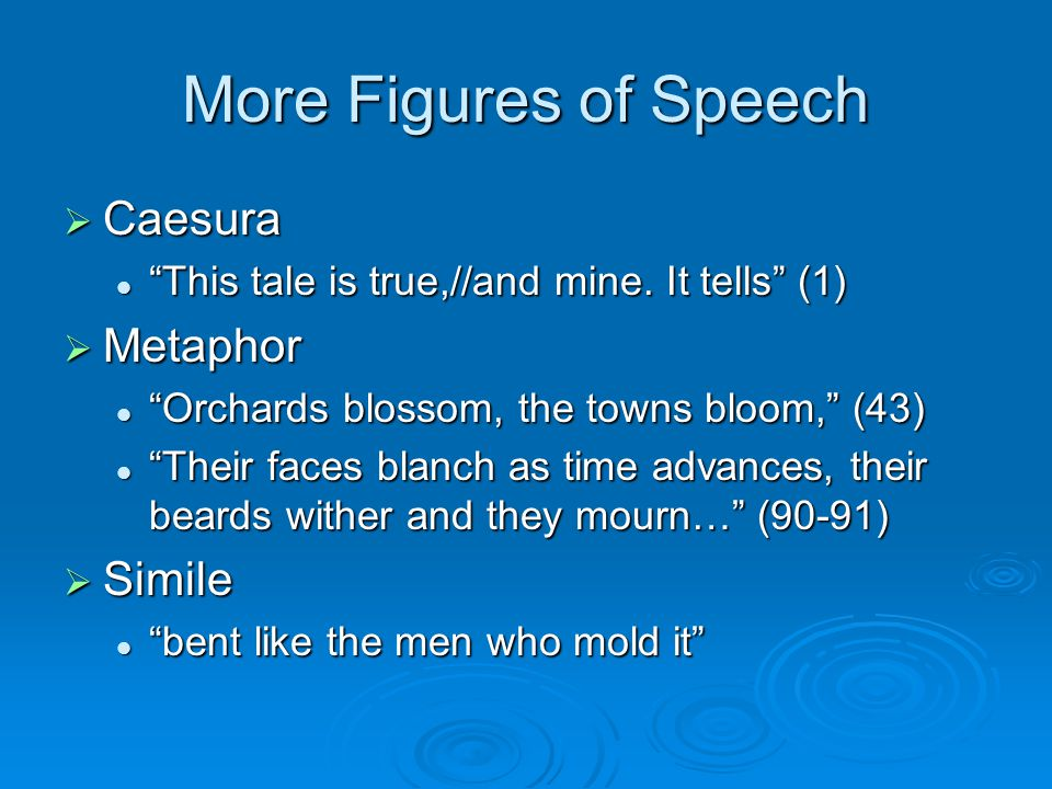 More Figures of Speech  Caesura This tale is true,//and mine.