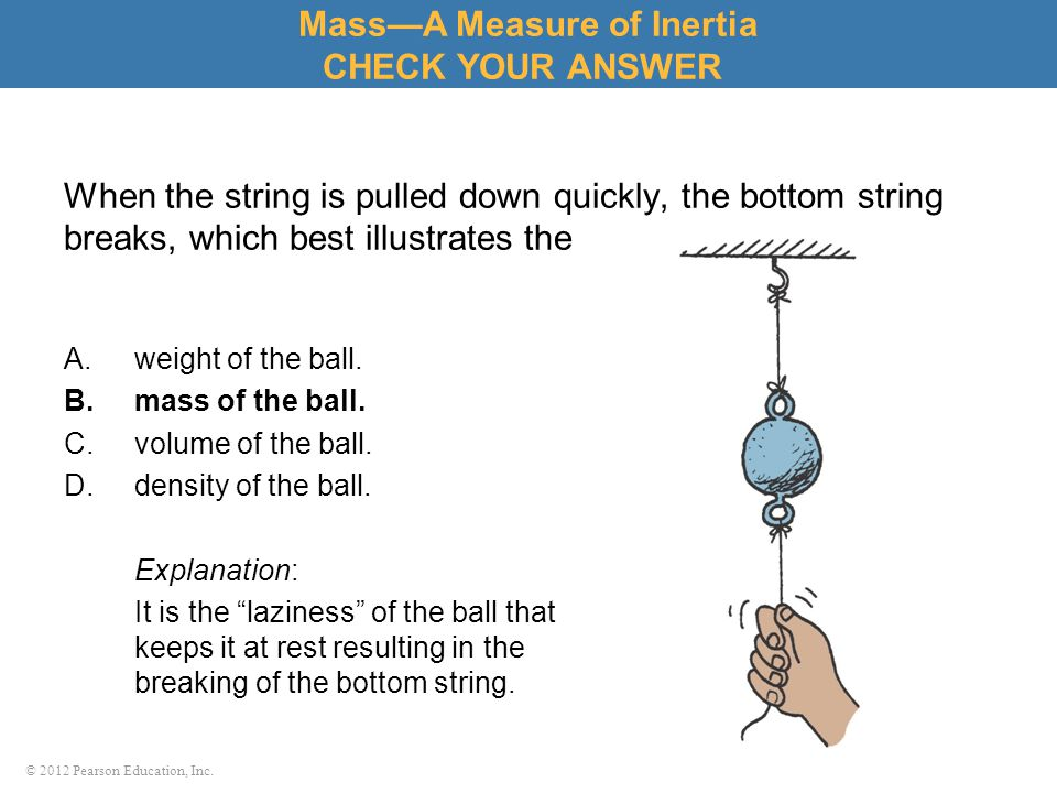 © 2012 Pearson Education, Inc. When the string is pulled down quickly, the bottom string breaks, which best illustrates the A.weight of the ball. B.ma