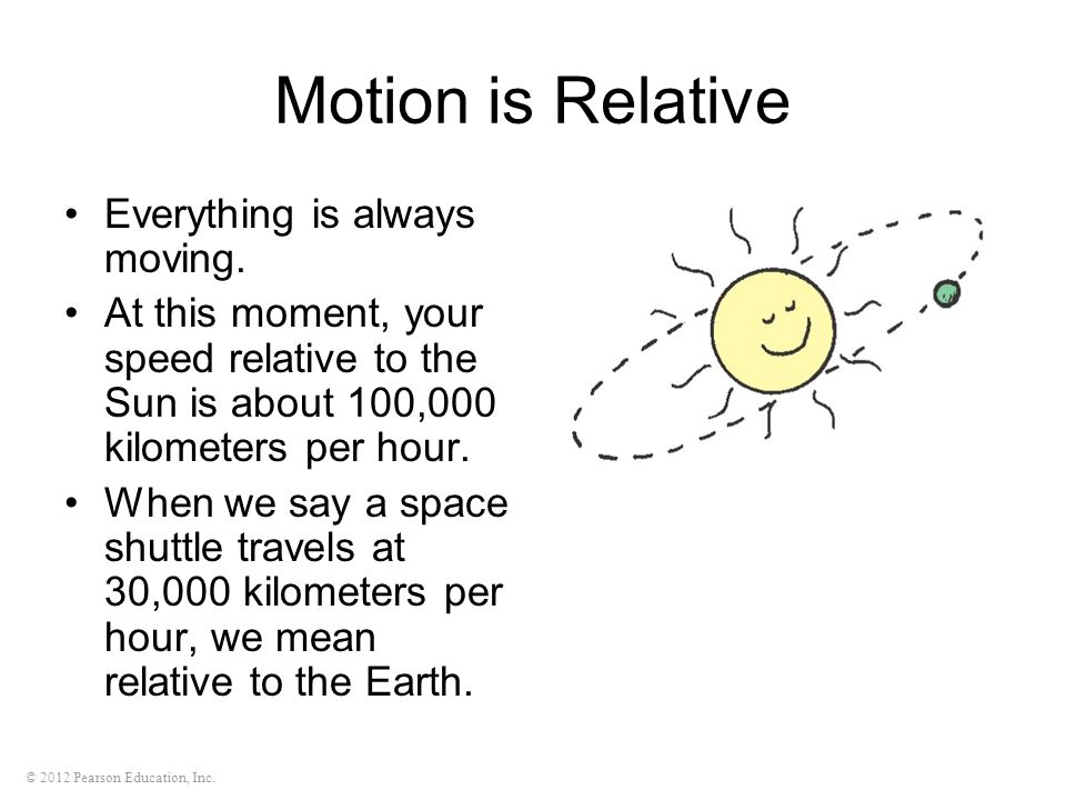 © 2012 Pearson Education, Inc. Motion is Relative Everything is always moving. At this moment, your speed relative to the Sun is about 100,000 kilomet