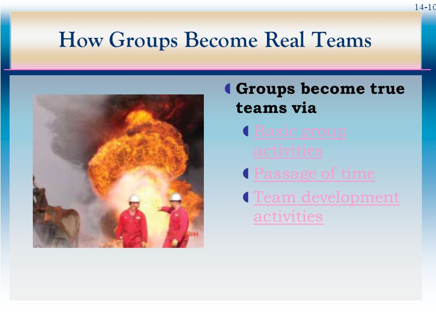 14-10 How Groups Become Real Teams  Groups become true teams via  Basic group activities Basic group activities  Passage of time Passage of time  Team development activities Team development activities