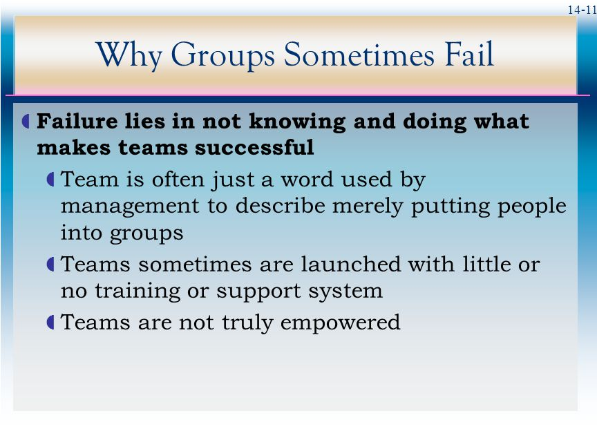 14-11 Why Groups Sometimes Fail  Failure lies in not knowing and doing what makes teams successful  Team is often just a word used by management to describe merely putting people into groups  Teams sometimes are launched with little or no training or support system  Teams are not truly empowered