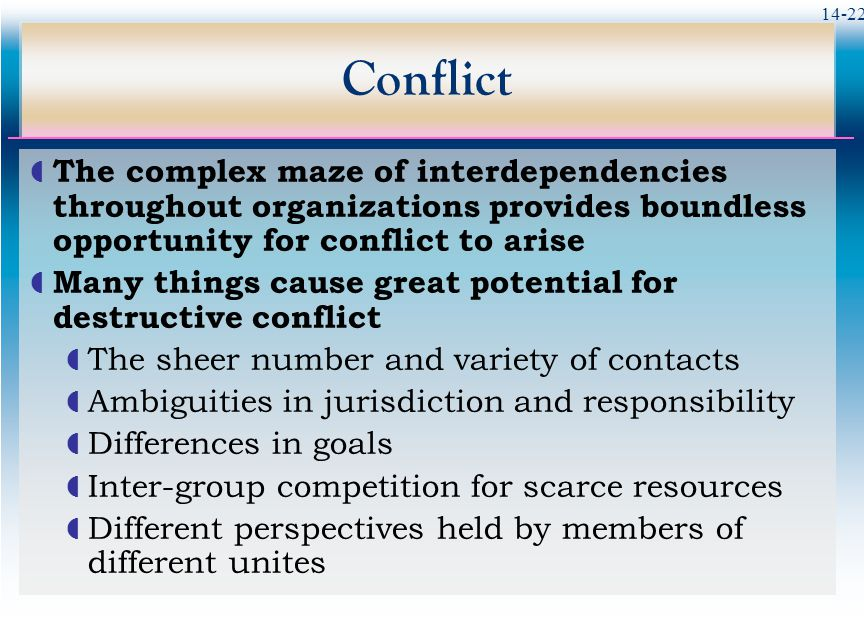 14-22 Conflict  The complex maze of interdependencies throughout organizations provides boundless opportunity for conflict to arise  Many things cause great potential for destructive conflict  The sheer number and variety of contacts  Ambiguities in jurisdiction and responsibility  Differences in goals  Inter-group competition for scarce resources  Different perspectives held by members of different unites