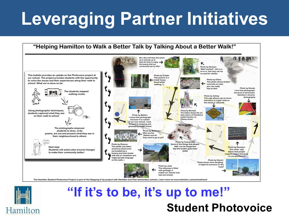 Leveraging Partner Initiatives Student Photovoice If it's to be, it's up to me!