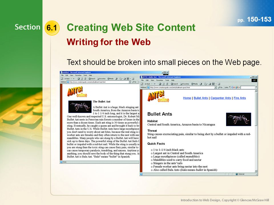 6.1 Creating Web Site Content Text should be broken into small pieces on the Web page. Writing for the Web