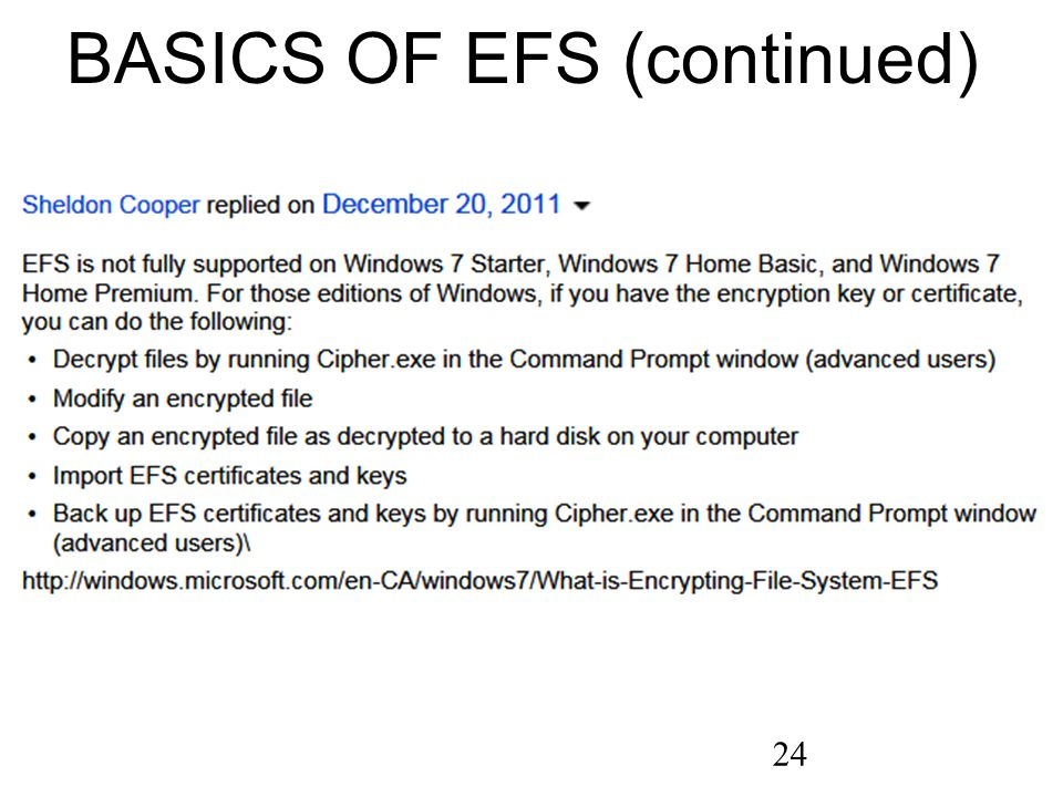 24 BASICS OF EFS (continued)