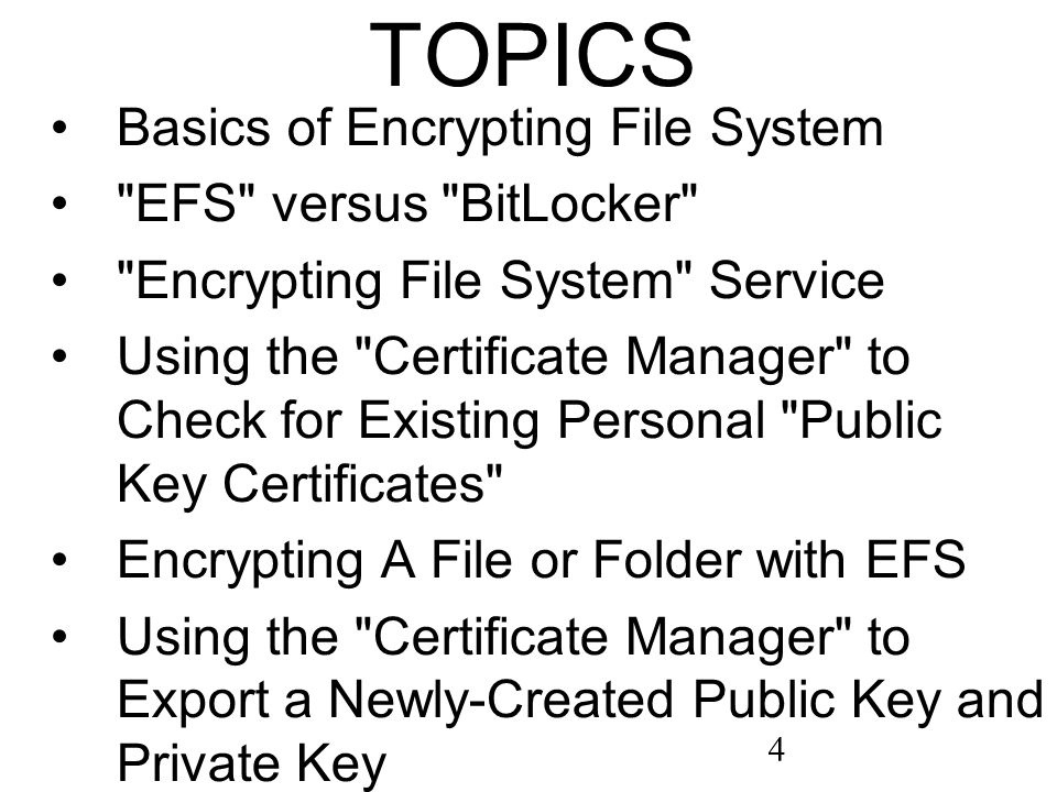 4 TOPICS Basics of Encrypting File System EFS versus BitLocker Encrypting File System Service Using the Certificate Manager to Check for Existing Personal Public Key Certificates Encrypting A File or Folder with EFS Using the Certificate Manager to Export a Newly-Created Public Key and Private Key