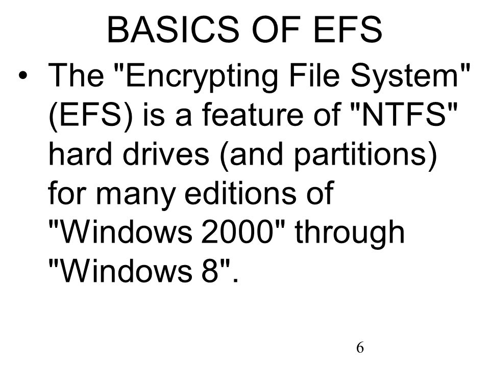 37 ENCRYPTING FILE SYSTEM SERVICE SET TO MANUAL OR AUTOMATIC (continued) Step 9: A Properties dialog box will be displayed.