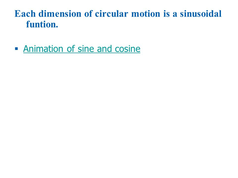 © 2010 Pearson Education, Inc.  Animation of sine and cosine Animation of sine and cosine Each dimension of circular motion is a sinusoidal funtion.