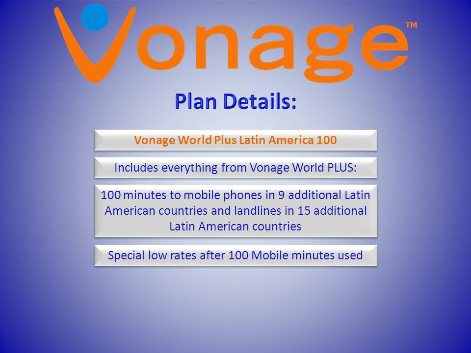 Vonage World Plus Latin America 100 Includes everything from Vonage World PLUS: 100 minutes to mobile phones in 9 additional Latin American countries
