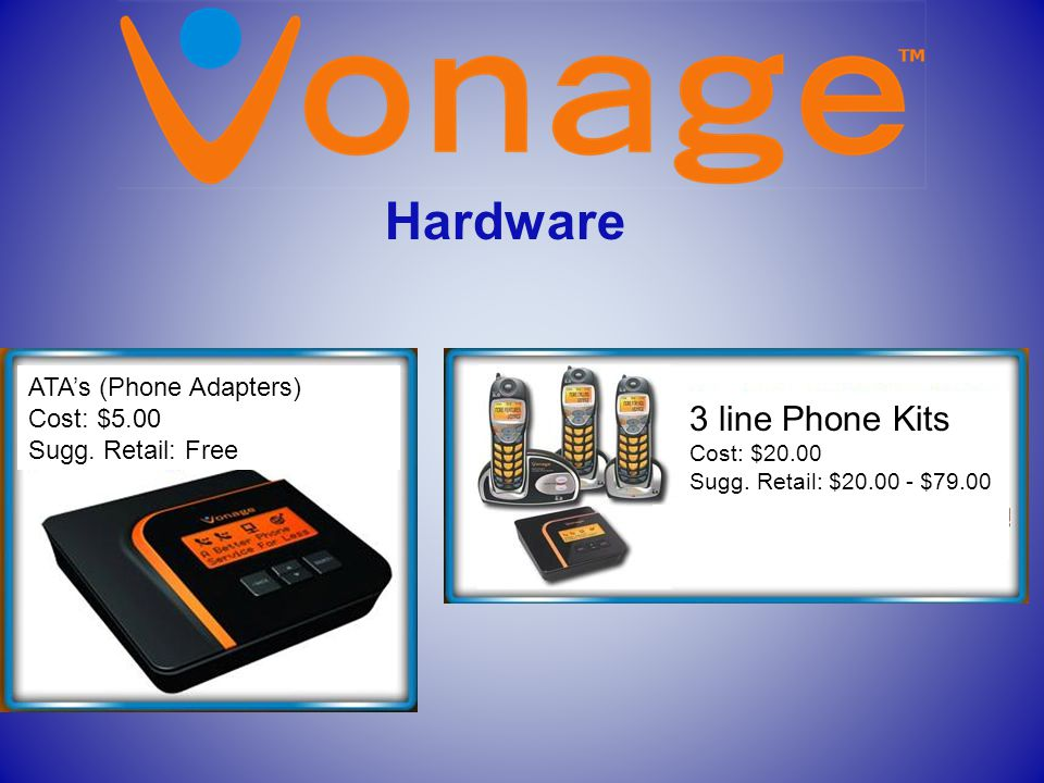 Hardware ff ATA's (Phone Adapters) Cost: $5.00 Sugg. Retail: Free 3 line Phone Kits Cost: $20.00 Sugg. Retail: $20.00 - $79.00 f d