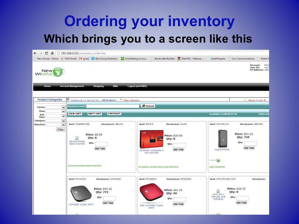 Scroll down until you find the two Vonage devices, and enter your desired quantities Ordering your inventory