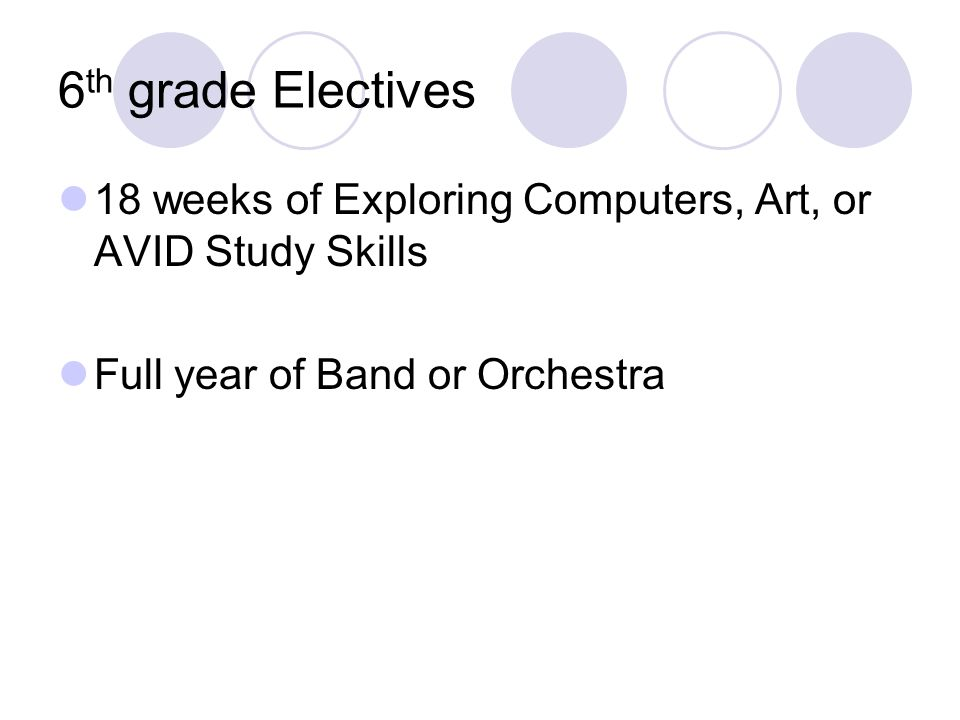 6 th grade Electives 18 weeks of Exploring Computers, Art, or AVID Study Skills Full year of Band or Orchestra