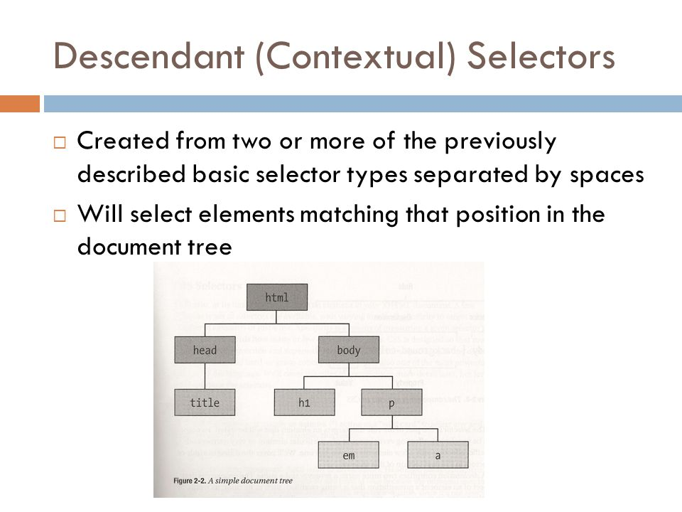 Descendant (Contextual) Selectors  Created from two or more of the previously described basic selector types separated by spaces  Will select elements matching that position in the document tree