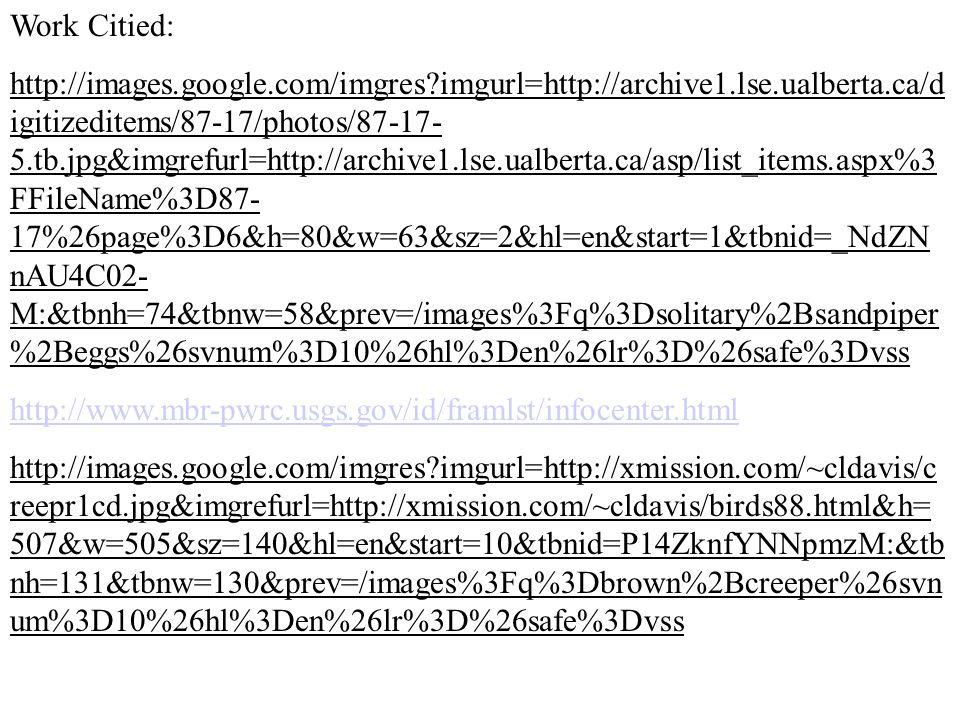 Work Citied: http://images.google.com/imgres?imgurl=http://archive1.lse.ualberta.ca/d igitizeditems/87-17/photos/87-17- 5.tb.jpg&imgrefurl=http://archive1.lse.ualberta.ca/asp/list_items.aspx%3 FFileName%3D87- 17%26page%3D6&h=80&w=63&sz=2&hl=en&start=1&tbnid=_NdZN nAU4C02- M:&tbnh=74&tbnw=58&prev=/images%3Fq%3Dsolitary%2Bsandpiper %2Beggs%26svnum%3D10%26hl%3Den%26lr%3D%26safe%3Dvss http://www.mbr-pwrc.usgs.gov/id/framlst/infocenter.html http://images.google.com/imgres?imgurl=http://xmission.com/~cldavis/c reepr1cd.jpg&imgrefurl=http://xmission.com/~cldavis/birds88.html&h= 507&w=505&sz=140&hl=en&start=10&tbnid=P14ZknfYNNpmzM:&tb nh=131&tbnw=130&prev=/images%3Fq%3Dbrown%2Bcreeper%26svn um%3D10%26hl%3Den%26lr%3D%26safe%3Dvss